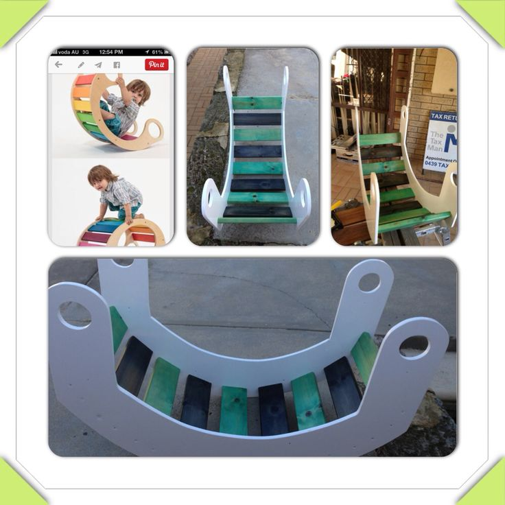 Kids rocker inspired by Pinterest. Port Adelaide colours. Nailed it!!