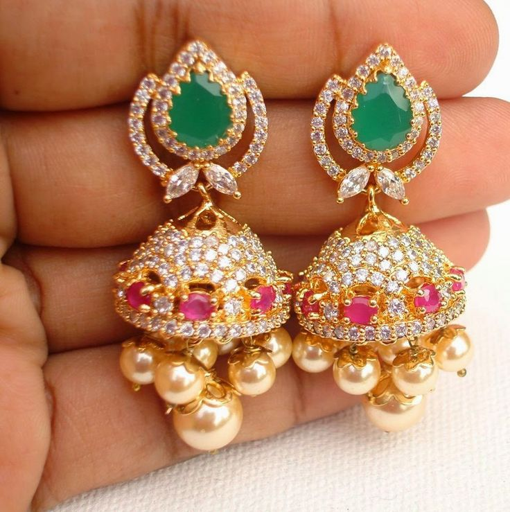 Uncut ruby emerald lovely jhumka | latest online jewellery | Elegant Fashion Wear Price:1300 #elegantfashionwear #uncut #ruby #jumkas