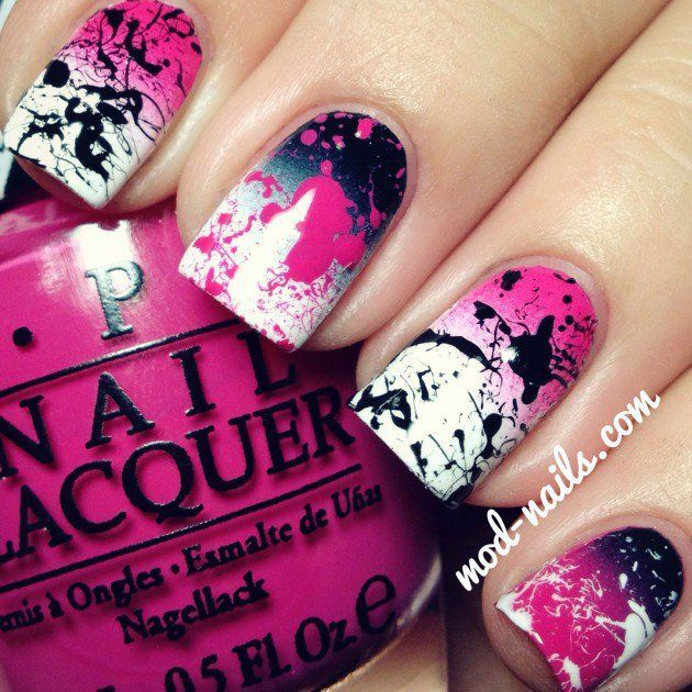 Ideas For Nail Designs 12 cute nail art designs to try in 2016 cute nail art designs easy Splatter Nail Art Designs How To Do Splatter Nails Nail Design Nail Art