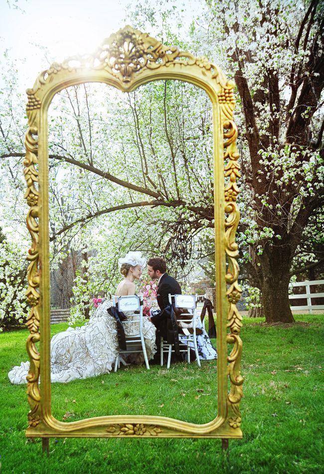 Large gold frame, Karen Hendrix Couture and Ace Photography at Cedarwood | Historic Cedarwood