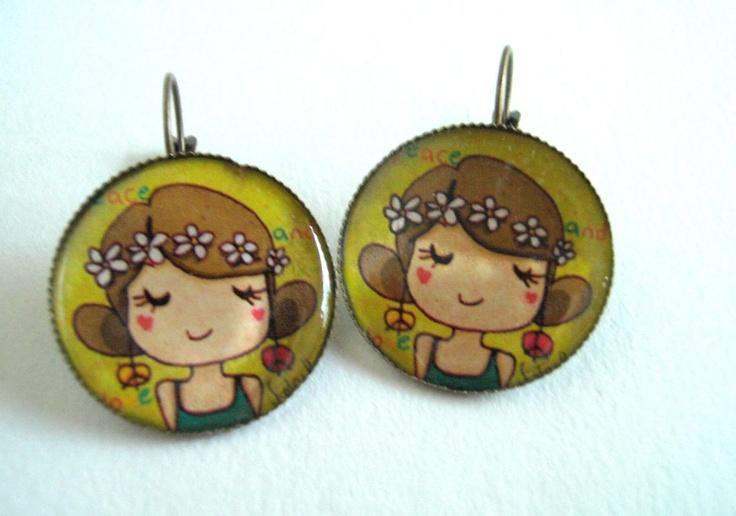 orecchini pendenti illustrati. Ragazza hippy con corona di margherite
