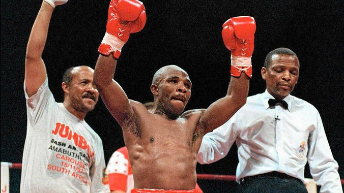 A file photograph of Baby Jake Matlala in 2001, after defeating Luis Doria. (Gallo)