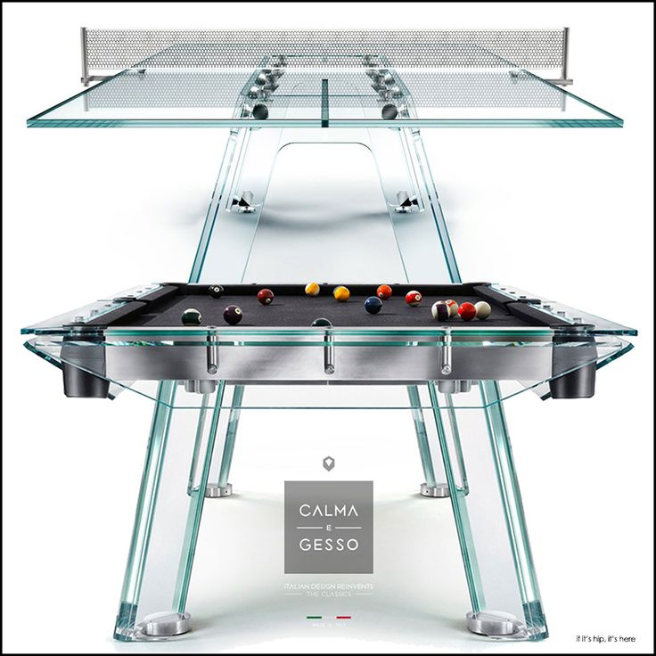 Calma E Gesso Luxury Crystal Glass Billiard And Ping Pong Tables