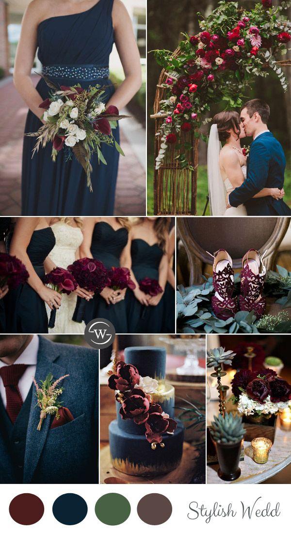 vintage burgundy and navy blue garden wedding ideas