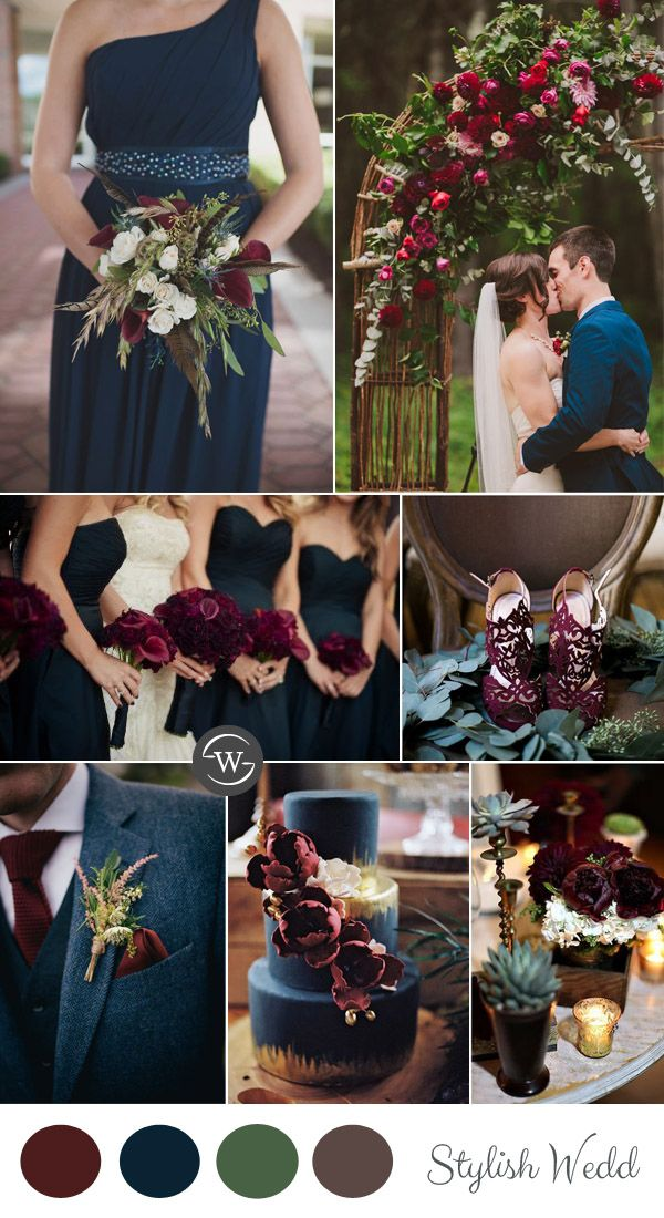 De 25 bedste id er inden for navy weddings p pinterest bryllupsfarver bryllup - Color schemes with maroon ...
