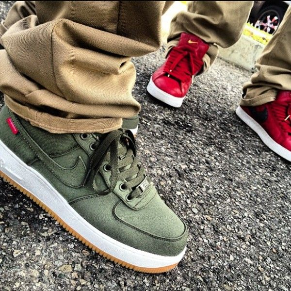 Nike Air Force Ones Olive Green