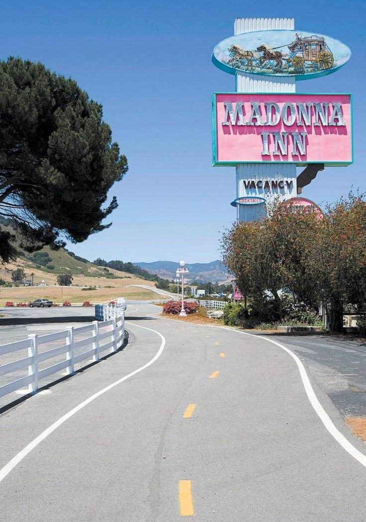 The pink sign for the Madonna Inn can be seen from Highway 101 in San Luis Obispo. Pink has been a signature part of the inn since it opened in 1958.