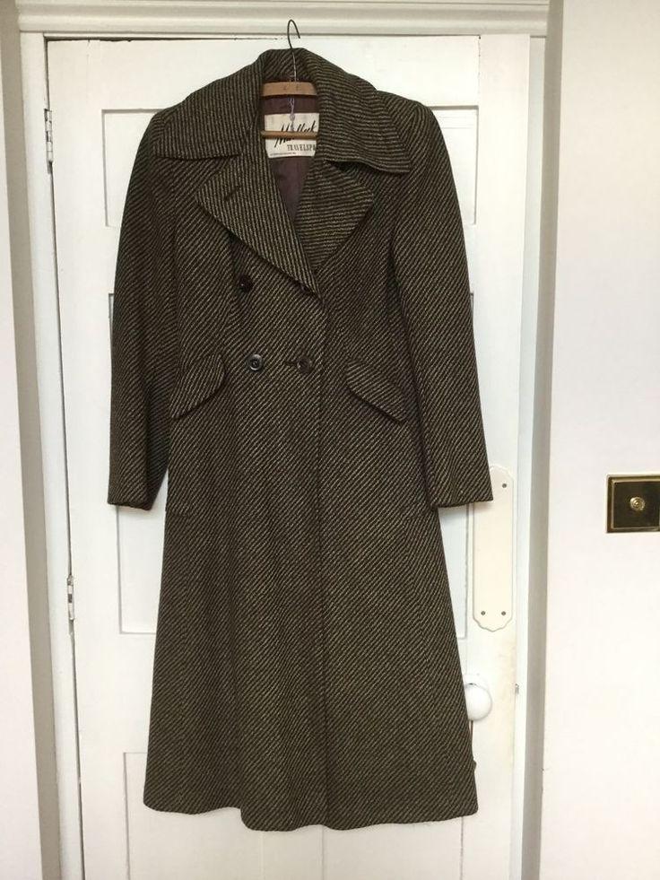 Original 1940 S Cc41 Ladies Brown Tweed Coat Size 12