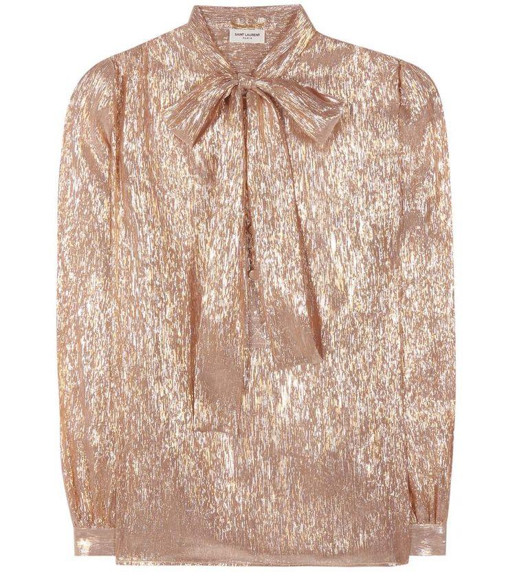 SAINT LAURENT Silk-Blend Pussy-Bow Blouse. #saintlaurent #cloth #tops