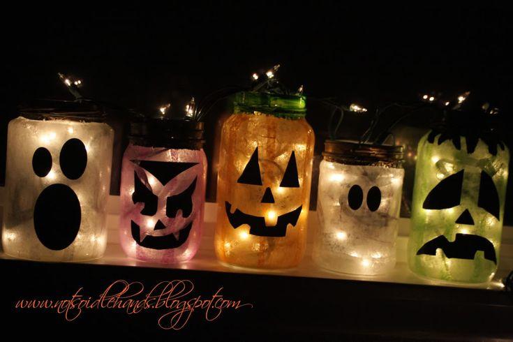 Tissue Paper Halloween Jars - from Not So Idle Hands: Halloween Decor, Halloween Crafts, Halloweendecor, Jack O' Lanterns, Mason Jars, Jars Lights, Halloween Ideas, Halloween Jars, Halloween Lanterns