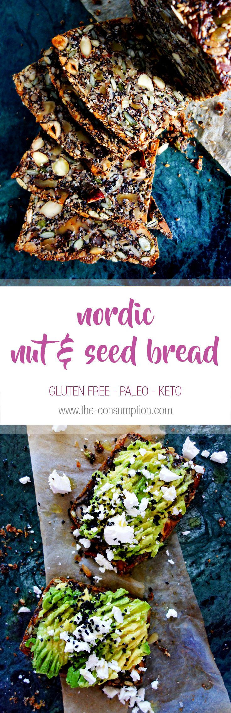 This Nordic Nut & Seed Bread is the bomb! Gluten free, paleo, keto, packed with filling nuts, seeds and perfect for a huge serving of smashed avocado!