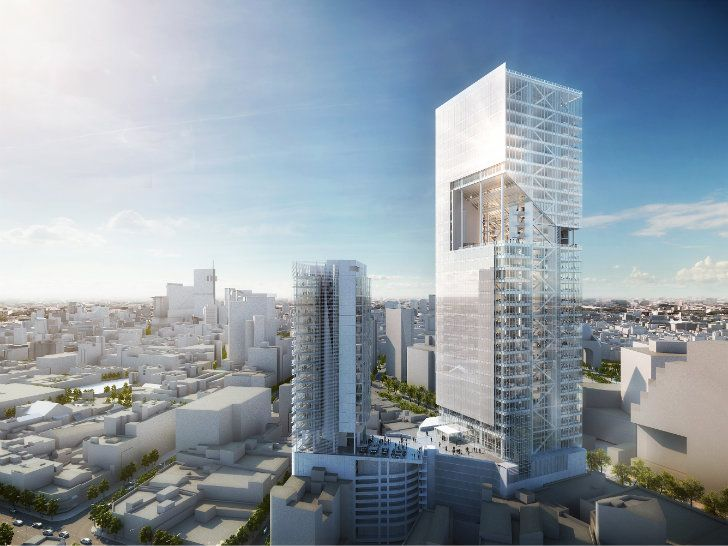 Richard Meier & Partners unveils plans for Reforma Towers, a new mixed-use project in Mexico City with a large urban courtyard cut into the heart of the main tower.
