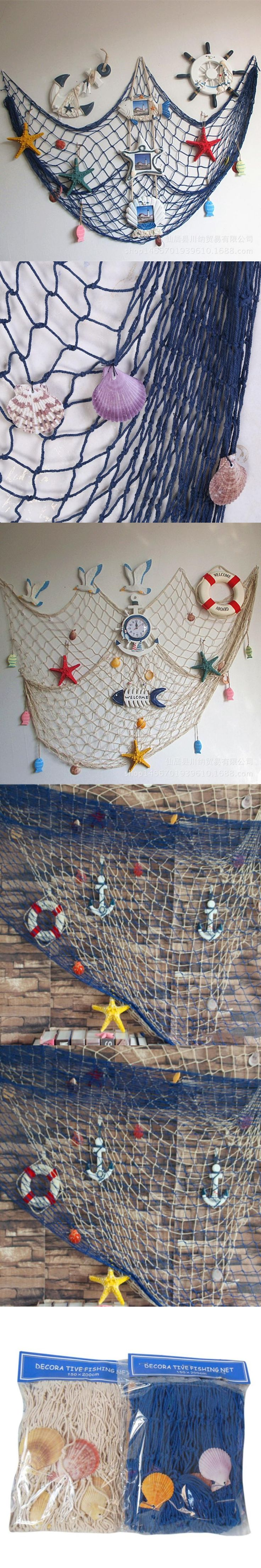 Home Decorations Fishing Net For Home Decor Wall Hangings  The Mediterranean Sea style Party Door Wall Stickers