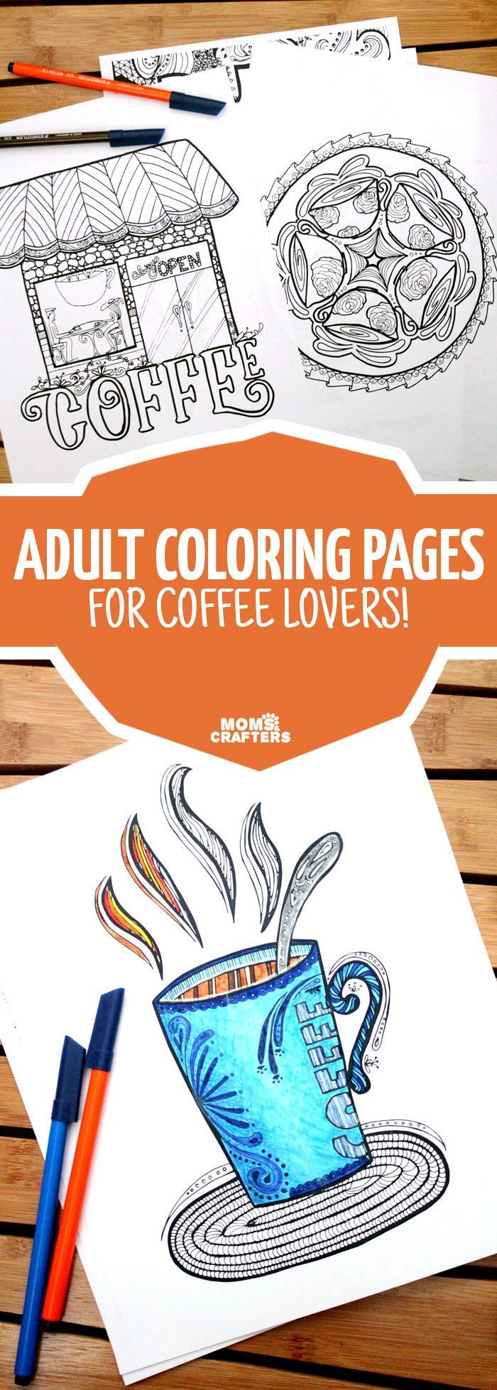 Grab these adult coloring pages in a coffee theme The o