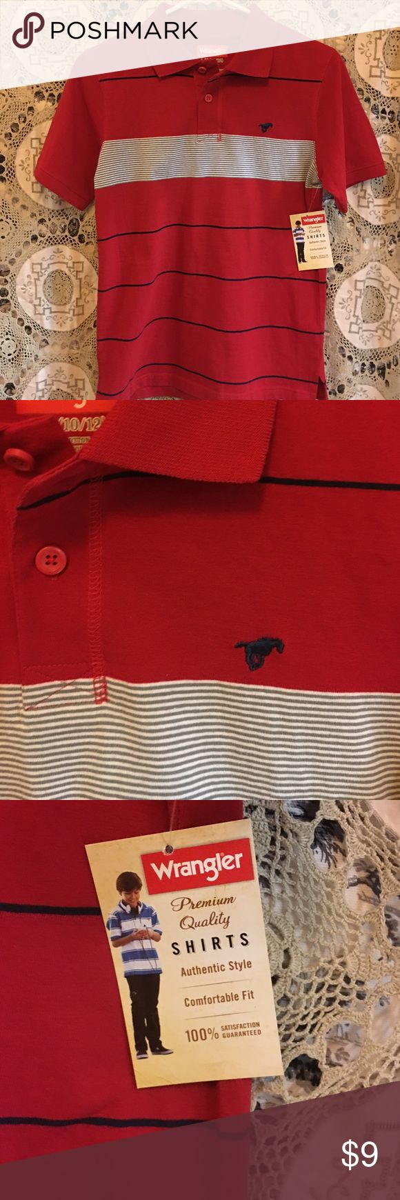 Wrangler buts red striped polo, Easter Great red stripe Wrangler polo shirt Wrangler Shirts & Tops Polos