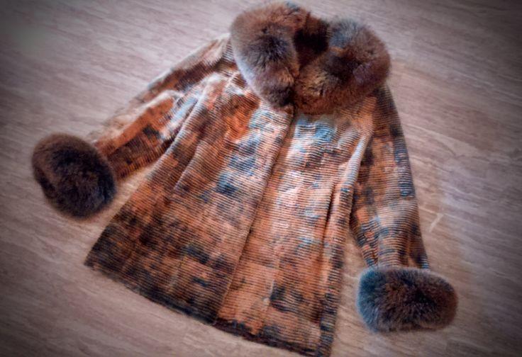 Fur Coat/ Real fur/ Mink fur with fox fur trim/ brown-green color by ReginaFurs on Etsy