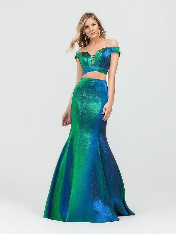6cb6fb67 From the color, mermaid top and skirt, you'll be the center of attention  all night long. #promdress #twopiecegown #offtheshoulderdress #promgown