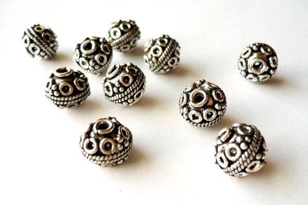 Thai Silver - Porthole Round Bead - 10mm $3.50CAD #craftdeville #ThaiSilver #beads