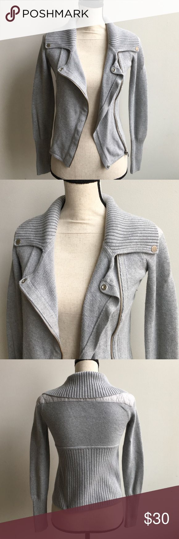 Armani Exchange Moto Sweater Gray Armani Exchange Moto Style Sweater, In Great Condition! Size X-Small, Zipper & Button Details, Shoulders Have Quilting Details Armani Exchange Sweaters