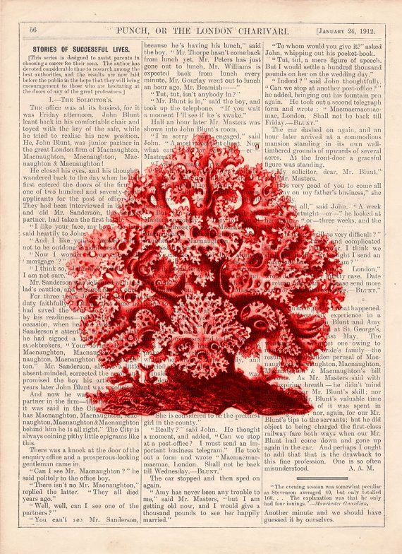 Coral Vintage Book Print Dictionary