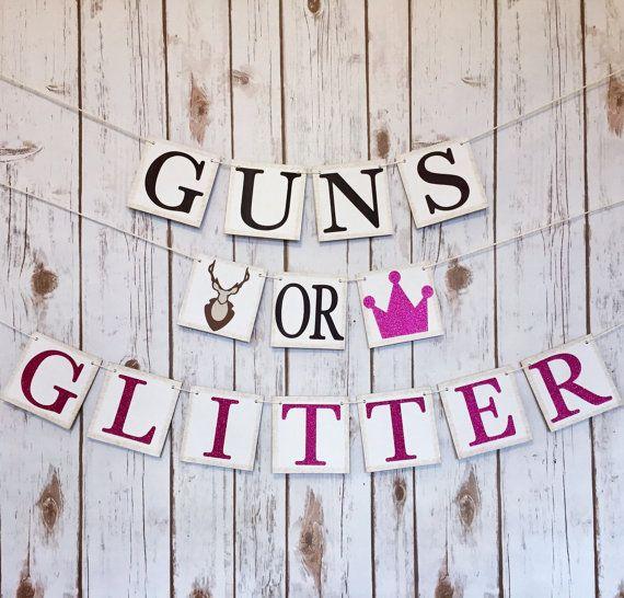 Guns or glitter gender reveal banner GUNS OR by TheTangledTwine