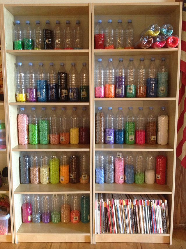 Perler Bead storage in old water bottles.  An interesting idea.