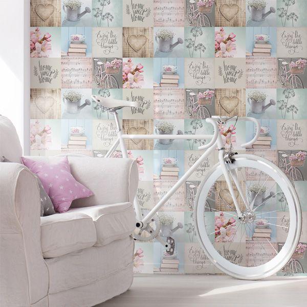 Papel pintado corazones collage, estilo vintage #papelvintage #papelpintadocollage #papelpintadofreestyle #freestyle #deco #papelpintado