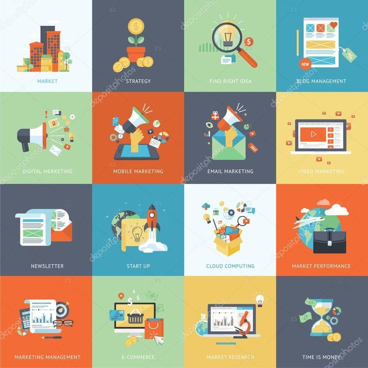 Conjunto de iconos de diseño plano moderno concepto de marketing — Ilustración de stock #53846427
