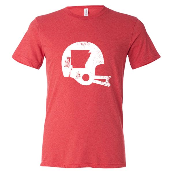 Show off your state pride in this Arkansas Football State T-Shirt! This tri-blend tee features a screen print of a vintage football helmet distressed graphic with the Arkansas state shape. Make sure e