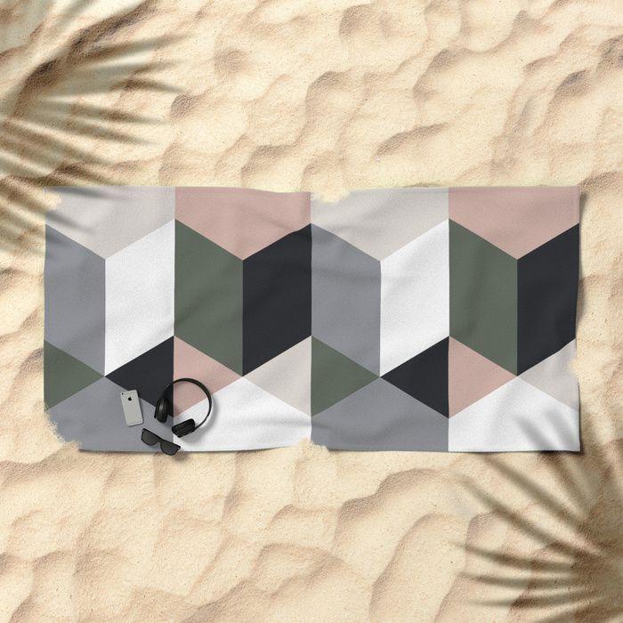 Ruby Quatro Beach Towel by Fimbis     Summer, towels, geometric, fashion, vacation, adventure, explore, poolside, seaside,
