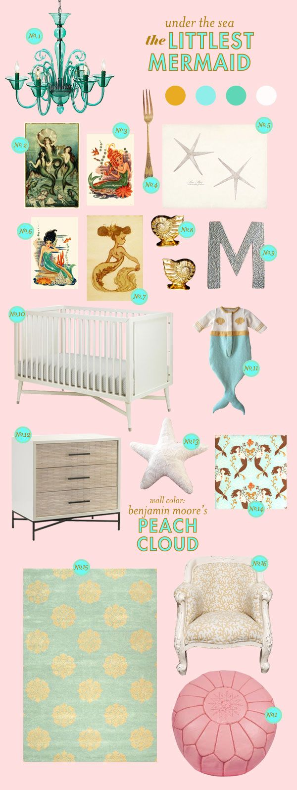 Mermaid Nursery: having some furniture with straight lines keeps the room from becoming too saccharine, but the peachy pink walls and dramatic chandelier make the room dreamy.