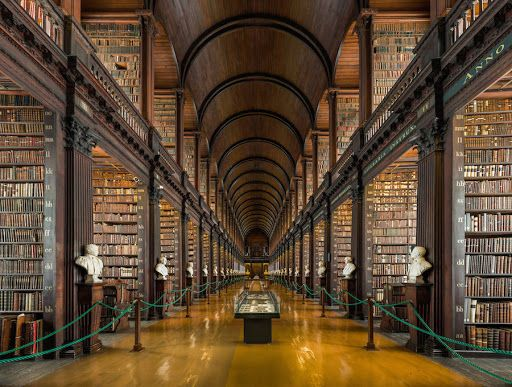 300-year-old library in Dublin featuring a hall filled with 200,000 rare books