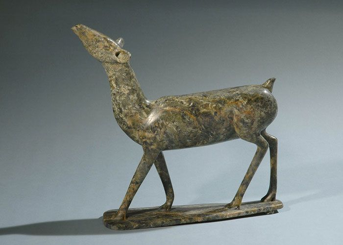 The Stafford Collection of Inuit Sculpture August 25, 2012 to November 18, 2012  Osuitok Ipeelee, Standing Caribou, 1985 - Green serpentine stone. Collection of the Winnipeg Art Gallery.  Gift of Bob and Marlene Stafford. 2012-81. Photo: Robert R. Taylor. © Public Trustee for Nunavut, Estate of Osuitok Ipeelee.