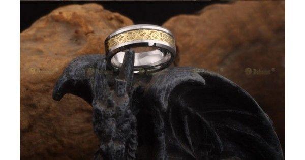 Anillo para hombres de moda 18K chapado en oro dragón carburo de tungsteno tamaño 5-13