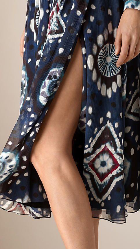 Чернильный Платье из шелка и кружева с эффектом деграде - Изображение 4