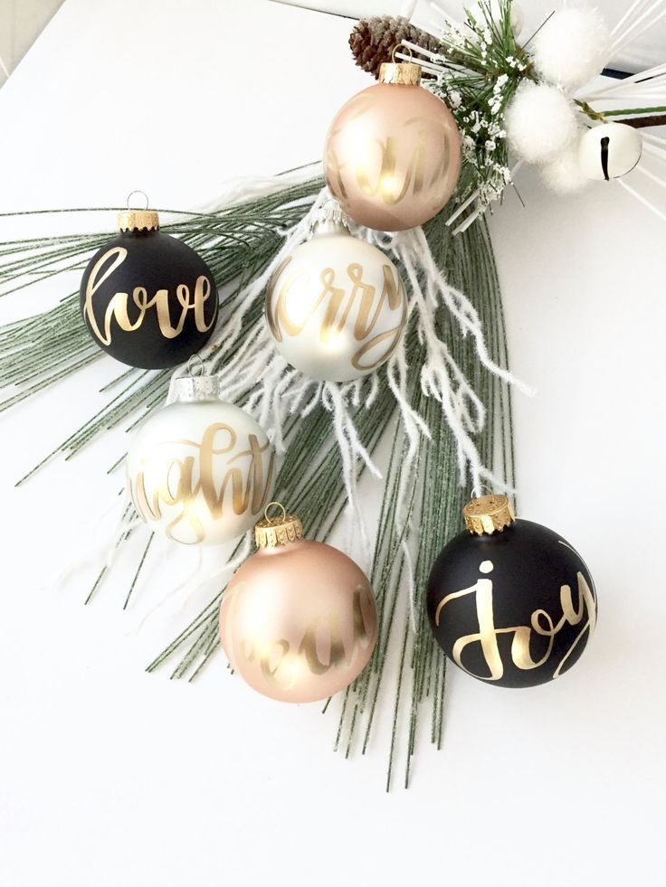White, Black and Rose Ornament SET ,Christmas Ornament, Modern Calligraphy Ornament, Glass ornament, Christmas decor, Gold ink by Pinklettersshop on Etsy