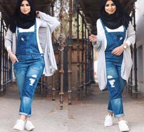Denim jumpsuit with hijab- Hijabista fashion looks…