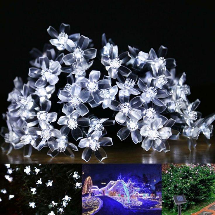Solaire Lampes 4.8 M 20 Led Fleur Blossom Lumières Décoratives Imperméable blanc fée Jardin En Plein Air De Noël solaire led lumière