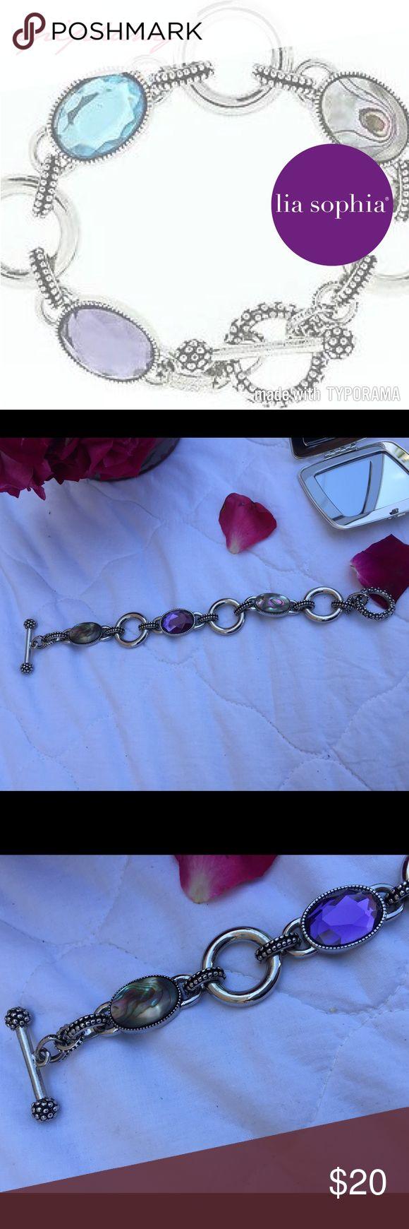 "LIA SOPHIA EPIPHANY Bracelet LIA SOPHIA Collection EPIPHANY Bracelet.  Abalone & Purple Crystal Toggle In Silver.   Size: 8"" Lia Sophia Jewelry Bracelets"