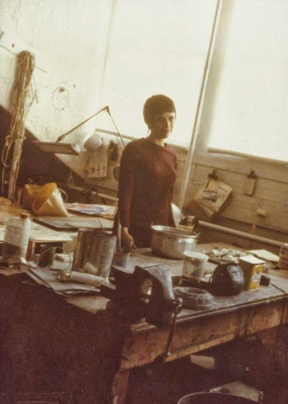 Eva Hesse in her Bowery studio, NYC, 1968.