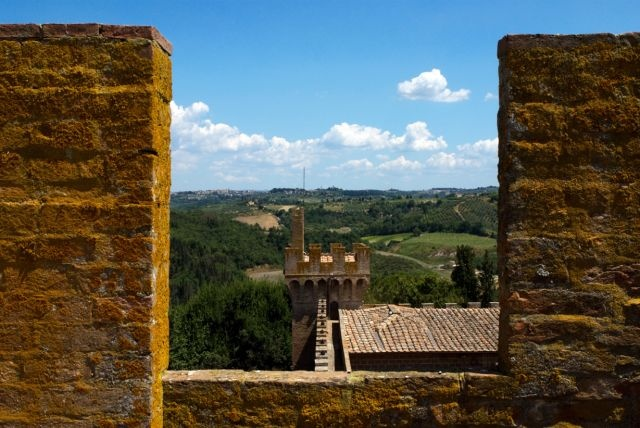 View from the roof of Oliveto castle, Tuscany, Italy.