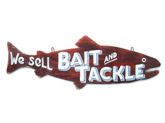 Bait and Tackle Sign Art Fishing Retro Hand by JMEllisDesigns