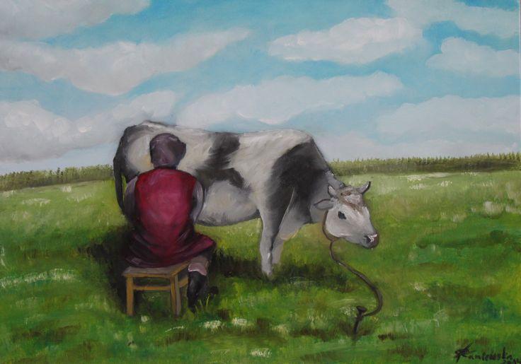 Babcia z krowa w polu ( 50x70 , Olejna )