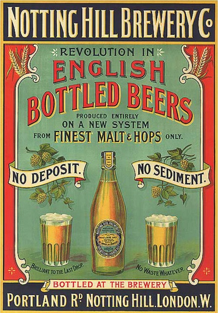 soyouthinkyoucansee on tumblr; NOTTING HILL BREWERY CO. ADVERTISEMENT 1899 POSTER