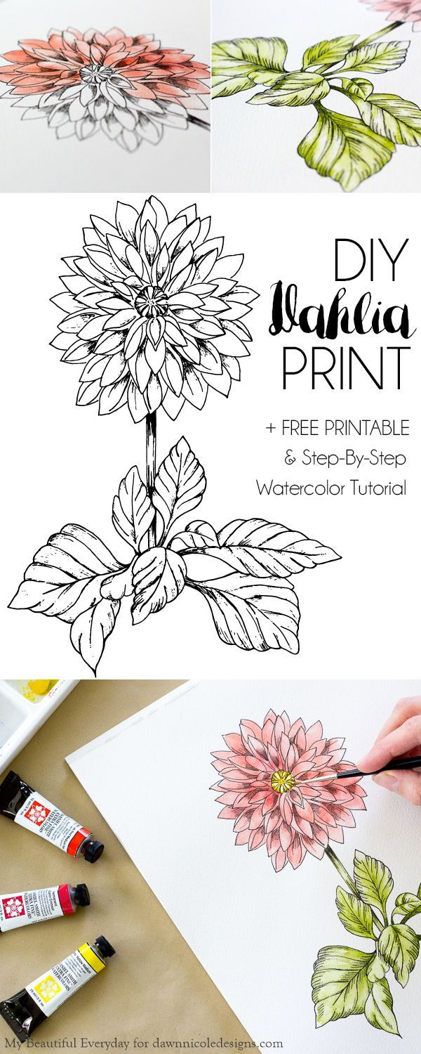 Diy Watercolor Dahlia Printable Watercolor Art Watercolour