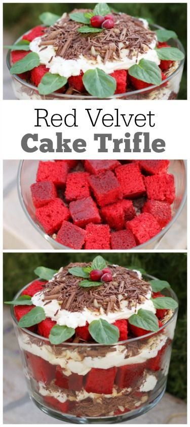 Red Velvet Cake Trifle Recipe : a perfect Christmas holiday dessert recipe. Simple, impressive and delicious!