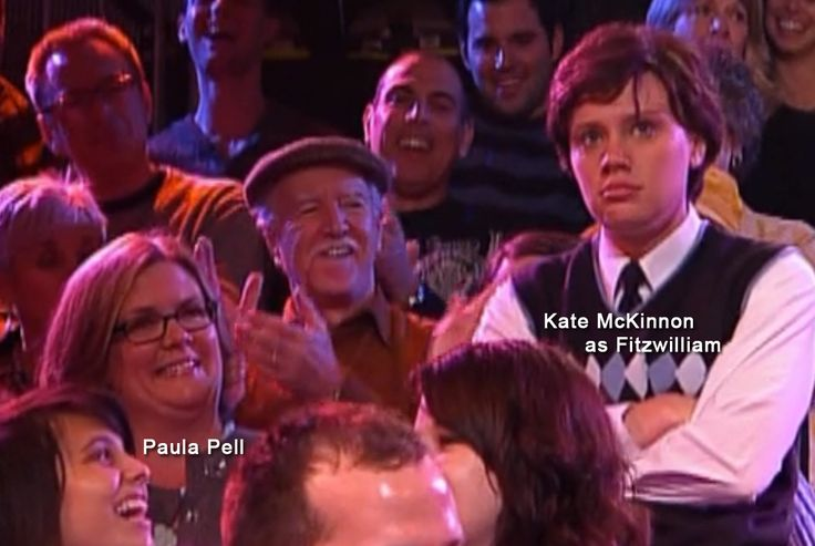 OMG. This is SNL writer Paula Pell in the audience watching Kate McKinnon play Fitzwilliam on the Big Gay Sketch Show! I love to think Paula is the one who found Kate for SNL!