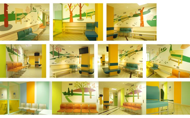 Original and complex interior design solution. Furniture and wall design for modern public space of extensive waiting coridor in hospital. Created by Lucie Jirku (Studio CODECO).