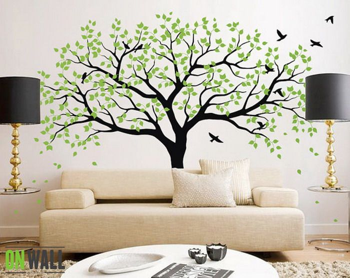 Living Room Ideas with Green Tree Wall Mural