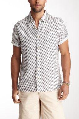 Brad Linen Short Sleeve Diagonal Print Shirt